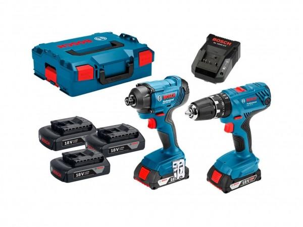 Pack Atornilladores GSB18V-21+GDR 18V-160+2x2,0AH+L-BOXX Bosch