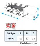 CAJON PARRILLA INOX 100X40X33 CMS.